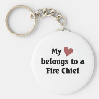 Heart belongs to a fire chief basic round button key ring