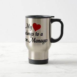 Heart belongs to a Salon Manager Stainless Steel Travel Mug