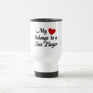 Heart belongs to a Sax Player Travel Mug