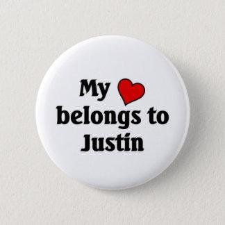 Heart belongs to Justin 6 Cm Round Badge