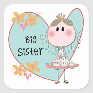 Heart Big Sister Square Sticker