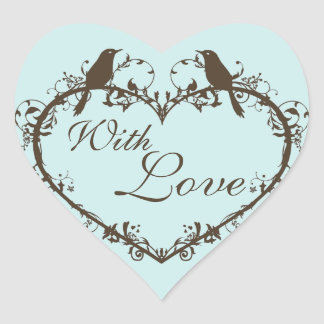 Heart & Birds Customizable Envelope Seal Heart Sticker