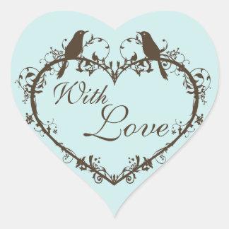 Heart & Birds Customizable Envelope Seal Heart Sticker