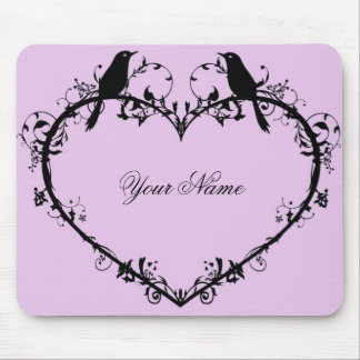 Heart & Birds Mouse Pad-Pink Mouse Pad
