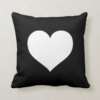 Heart Black and White Collection Throw Pillow