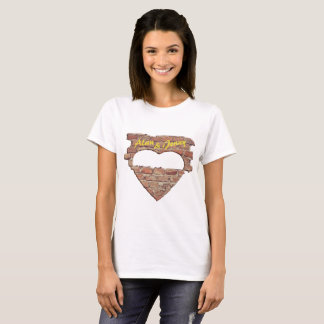 Heart, brick wall, Tshirt - Insert Photo Text