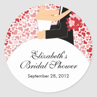 Heart Bride Groom Bridal Shower Sticker Red Pin