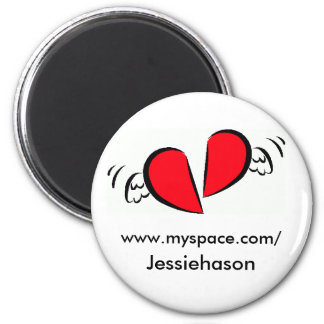 heart-broken-with-wings-clipart, www.myspace.co... 6 cm round magnet