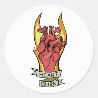 Heart burn classic round sticker