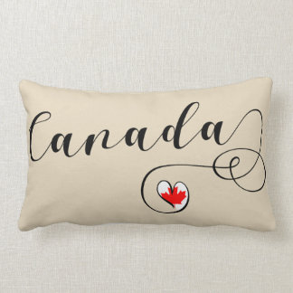 Heart Canada Pillow, Canadian Flag Lumbar Cushion