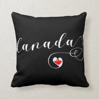 Heart Canada Throw Pillow, Canadian Flag Cushion