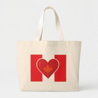 Heart Canadian Flag Tote Bags