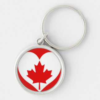 Heart Canadian Maple Leaf Silver-Colored Round Key Ring