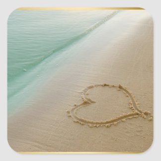 Heart Carded In The Sand Square Sticker