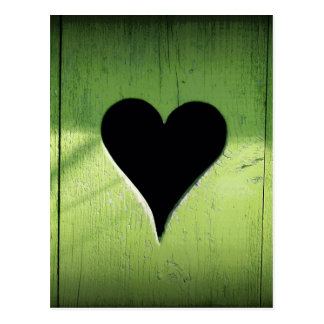 Heart Carved from Bright Green Wooden Door Postcard