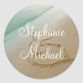 Heart Carved In The Sand Round Wedding Sticker