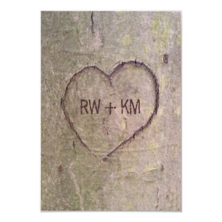 "Heart Carved in Tree RSVP Reply Card 3.5"" X 5"" Invitation Card"