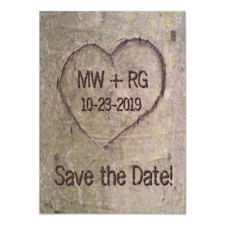 Heart Carved in Tree, Save the Date Card