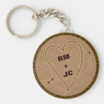 Heart Carved Initials Wood Tree Rings Personalised Basic Round Button Key Ring
