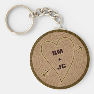 Heart Carved Initials Wood Tree Rings Personalised Key Ring