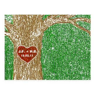 Heart Carved into Tree Postcard
