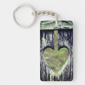 Heart Carved Wood Key Ring