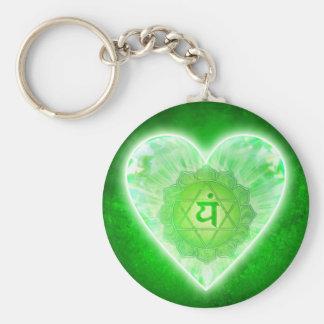 Heart Chakra Basic Round Button Key Ring