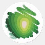 Heart Chakra Green Energy Spirals Round Sticker