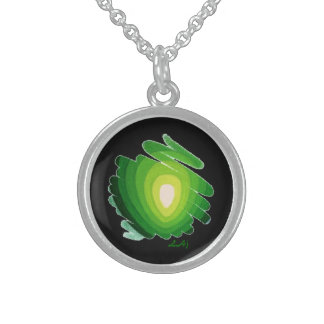Heart Chakra Green on Black Round Necklace