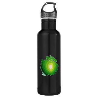 Heart Chakra Green on Black Water Bottle