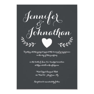 Heart chalkboard wedding invitations