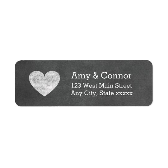 Heart Chalkboard Wedding Return Address Labels