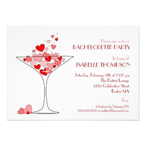 Heart Champagne Bachelorette Party Invitation