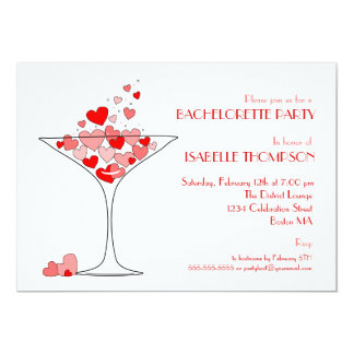 Heart Champagne Bachelorette Party Invitation