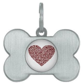 Heart clothes pet name tag