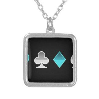 heart clover square pricks square pendant necklace
