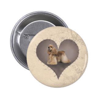 Heart Cocker Spaniel Pinback Button
