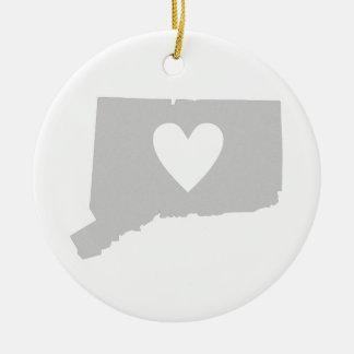 Heart Connecticut state silhouette Ceramic Ornament