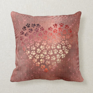 Heart Copper Pink Rose Sparkly Metallic Throw Pillow