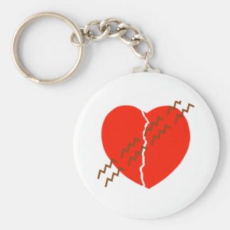 Heart Crack Tire Track Basic Round Button Key Ring