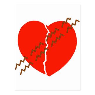 Heart Crack Tire Track Postcard