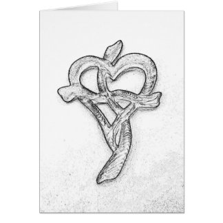 Heart Cross Charcoal Sketch-Symbol of Love of God Card