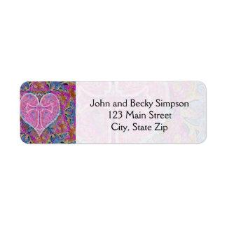 Heart Cross Pattern in Pink Return Address Label
