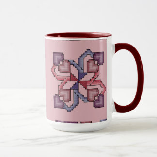 Heart Cross Stitch Quilt Square Mug