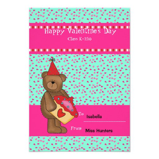 Heart Cupcake-Bear Classroom Card Personalized Announcement