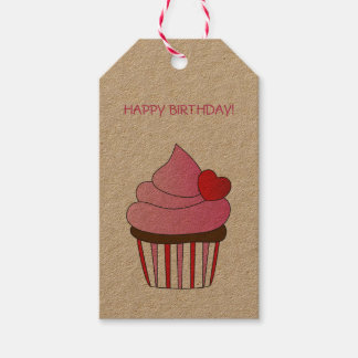 Heart Cupcake Happy Birthday Gift Tags