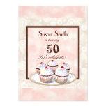 Heart Cupcake Trio 50th Birthday Party Invitation