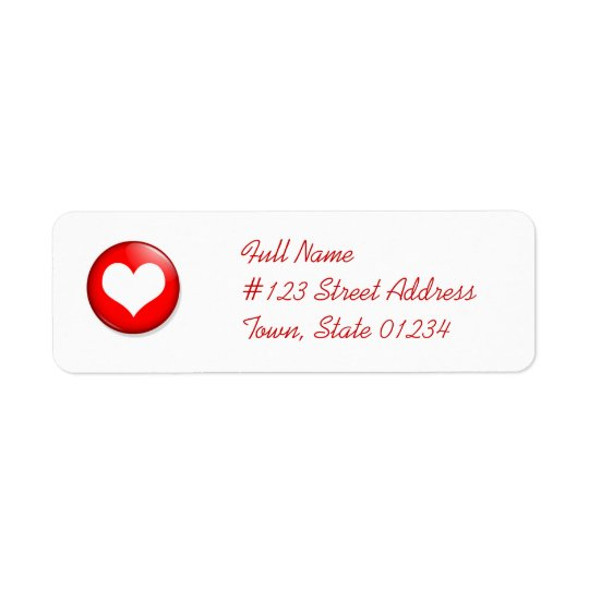 Heart Cut Out Mailing Label Return Address Label