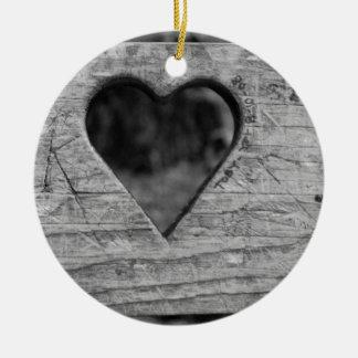 Heart cutout in wood ceramic ornament