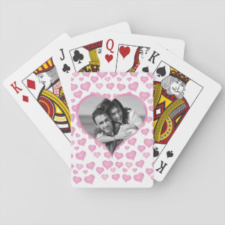Heart cutout Valentine's Day Photo Playing Cards